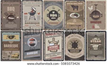 Vintage colored barbecue brochures collection with grill meat sausages burgers bbq tools and equipment isolated vector illustration