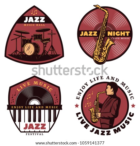 Vintage colored live jazz music emblems with letterings musician drums saxophone piano vinyl isolated vector illustration