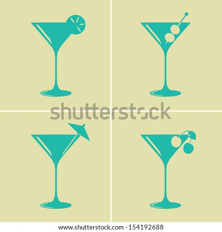 Vintage colored martini cocktail glasses with different decorations