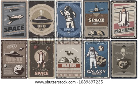 vintage colored space posters...