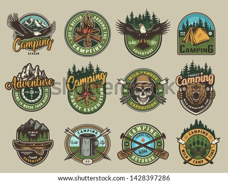 Vintage colorful camping emblems with eagle angry bear head skull in safari hat tent boat paddles arrows cup campfire compass marshmallows on wood sticks isolated vector illustration