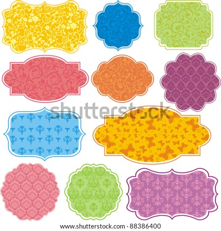 Vintage Colorful Design elements for scrapbook - Old tags and frames. Vector Illustration