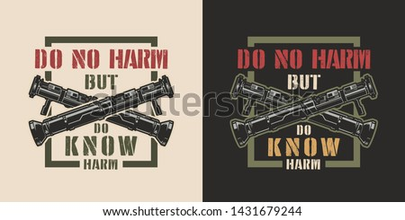 Vintage colorful military emblem with crossed bazookas and inscriptions isolated vector illustration #1431679244