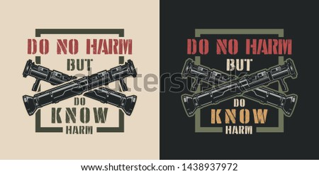 Vintage colorful military emblem with crossed bazookas and inscriptions isolated vector illustration #1438937972