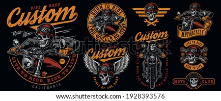 Vintage colorful motorcycle emblems set with inscriptions wrenches skeleton biker riding motorbike skull in motorcyclist helmet and goggles with eagle wings isolated vector illustration Stockfoto ©