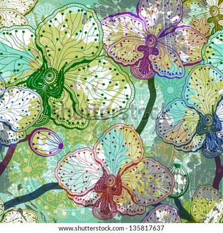 Vintage colorful seamless floral pattern with orchid. Vector, EPS 10