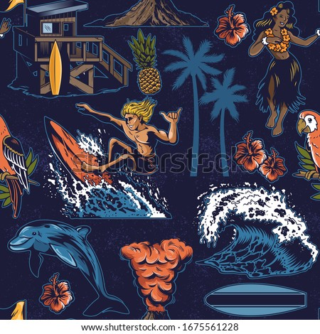 Vintage colorful seamless textile pattern with surfing, hula girl, waves, summer, beach, palms, Hawaii flowers, dolphin, beach house, volcano, parrot. Custom graphic apparel print design illustration.