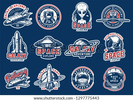 Vintage colorful space badges set with shuttles ufo astronaut saturn planet cosmonaut helmet moon extraterrestrial showing peace sign spaceships isolated vector illustration #1297775443