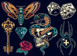 Vintage colorful tattoos set with dice antique golden key beautiful rose butterfly diamond scary cross spider snake entwined with skull on dark background isolated vector illustration