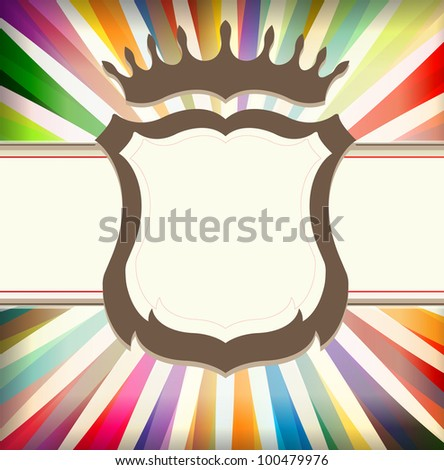 Vintage colorful template with retro sun burst background and shield