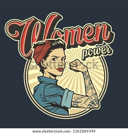 Vintage colorful woman power badge with beautiful strong girl in uniform with tattoo on arm isolated vector illustration Stock fotó ©
