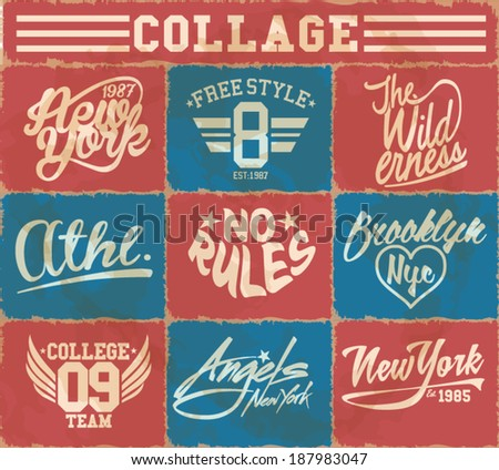 vintage colors college label set