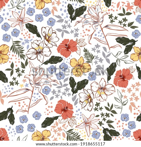 Vintage Colour and Hand drawn blooming garden floral ,Botanical leaf ,many kind of flowers with stylish polka dots seamless pattern vector,Design for fashion , fabric, textile,