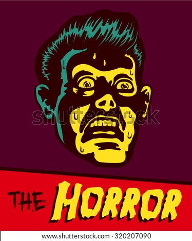 Vintage comic book illustration retro styled terrified man with terror stricken face expression staring at something ominous