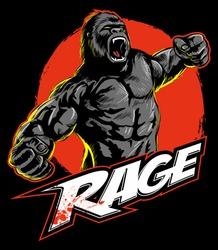 Vintage, comic book style roaring gorilla.