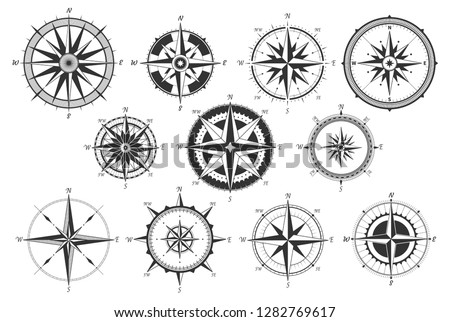 Vintage compass. Nautical map directions vintage rose wind. Retro marine wind measure. Windrose compasses vector icons isolated