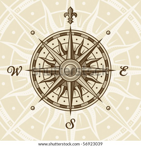 Vintage compass rose. EPS8 vector illustration in woodcut style with clipping mask.