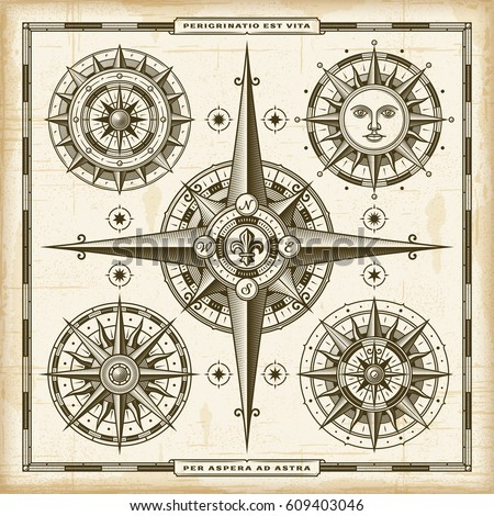 Vintage Compass Roses Set. EPS10 vector illustration in retro woodcut style with transparency.