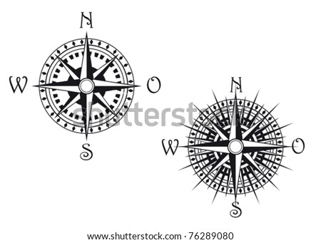 Vintage compass symbols isolated on white for design. Jpeg version also available in gallery