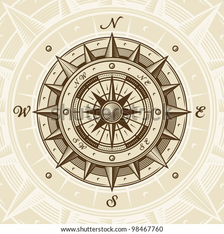 Vintage compass. Vector - stock vector