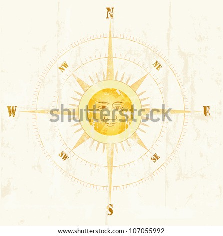 Vintage compass, vector illustration