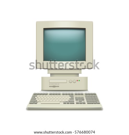 vintage computer isolated on