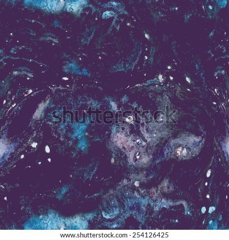 Vintage cosmic pattern. Watercolor Hand drawn. Old texture. Dark background