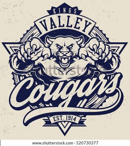 Vintage Cougar Mascot Illustration