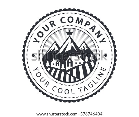 Vintage Countryside House View Badge Logo