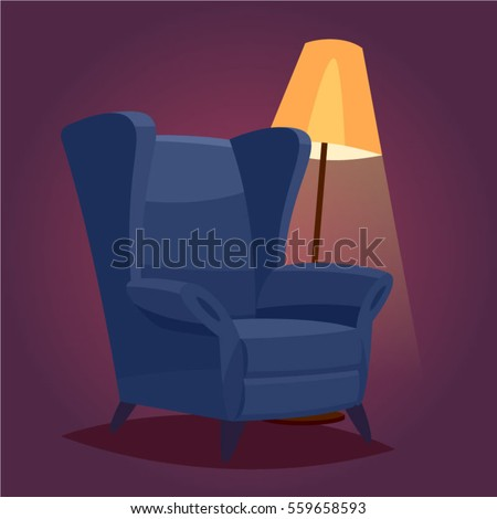 vintage cozy chair in a dark room with a floor lamp.