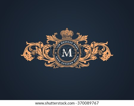 Vintage crest logo Elements Flourishes Calligraphic Ornament. Letter M. Elegant emblem template monogram luxury frame. Royal line vector sign for restaurant, boutique, heraldic, cafe, hotel