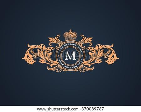 Vintage crest logo Elements Flourishes Calligraphic Ornament. Letter M. Elegant emblem template monogram luxury frame. Royal line vector sign for restaurant, boutique, heraldic, cafe, hotel