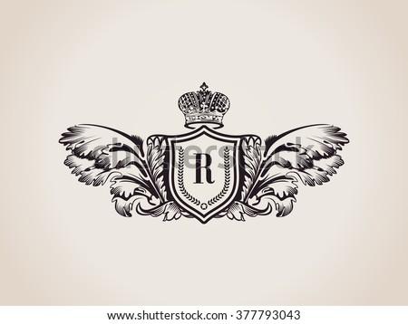 heraldic crests for logo design download free vector art stock