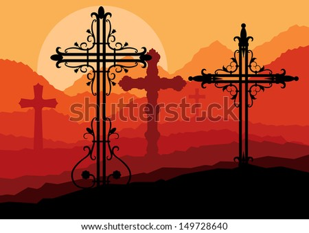 Christian Cross Silhouette at Sunrise Royalty Free Vector