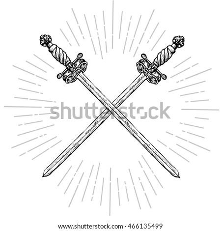 vintage crossed long swords