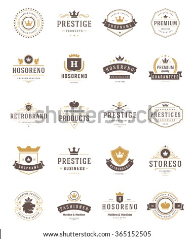 vintage crowns logos set