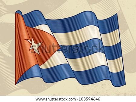 Vintage Cuban Flag. Vector