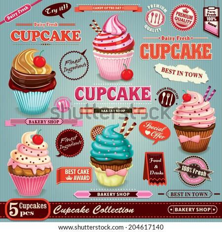 vintage cupcake poster set