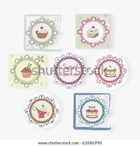 Vintage Cupcake Set Stock Vector 62686990 : Shutterstock