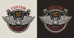 Vintage custom motorcycle colorful logotype with winged motorbike steering wheel on dark and light backgrounds isolated vector illustration