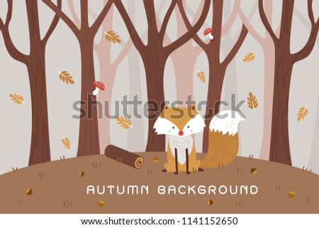 Stock Photo Vintage cute baby fox wolf smile happy in romantic autumn forest jungle background