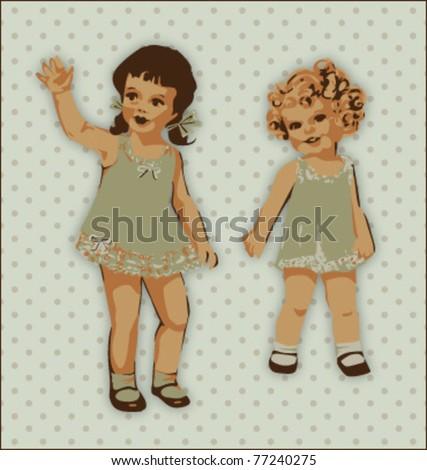 VINTAGE CUTE LITTLE GIRLS. Vector illustration file.