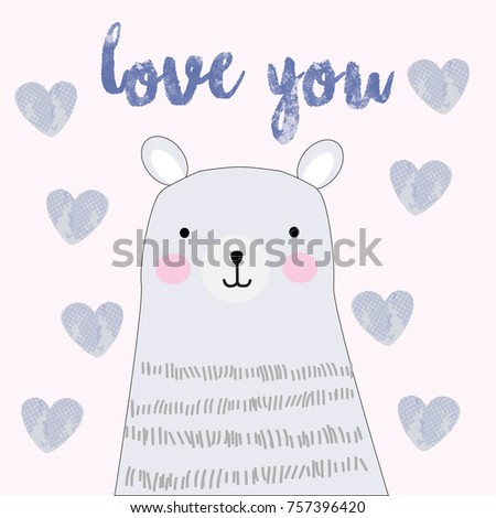 vintage cute love you text