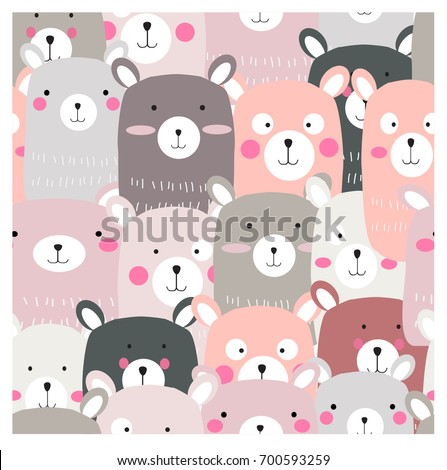 Vintage cute lovely teddy bear cartoon seamless pattern,pastel and romantic color,happiness smile and adorable,background illustration vector,hand draw style doodle comic art,invitation card