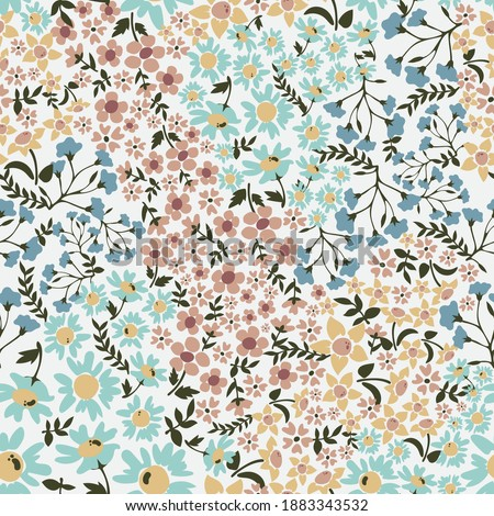 Vintage cute seamless ditsy wild flowers pattern - All over floral colorful daisy print
