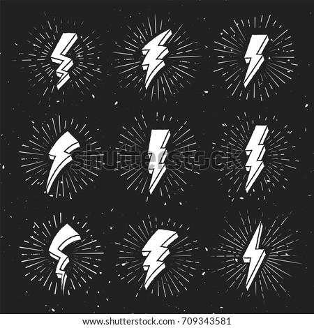 Vintage 3D Lightning Bolt Signs on dark Background. Hipster illustration in retro style Template for t-shirt, cover, pack, emblem, sign, sticker, banner, apparel, logo, poster or your art works.