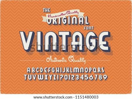 Vintage 3d Summer Styled Alphabet. Retro Nostalgic Typeace Vector Illustration. #1151480003