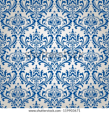 Vintage Damask Brocade Wallpaper Vector Background Tile