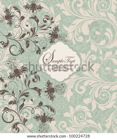 vintage  damask invitation with floral elements