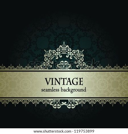 Vintage damask seamless background. Can be used as invitation or a greeting card